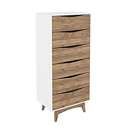Amazoncom Modern Rustic 6 Drawers Tall Dresser With Wooden Sphere