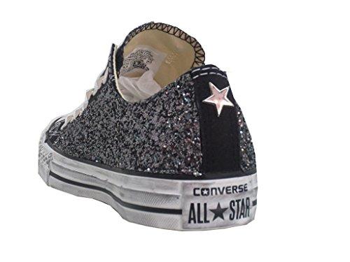 Converse all star ox basse nero black glitter canna di fucile ( prodotto artigianale )