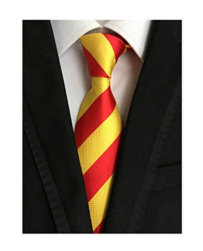 Secdtie Men's Red Yellow Striped Jacquard Woven Silk Tie Formal Necktie LUD31