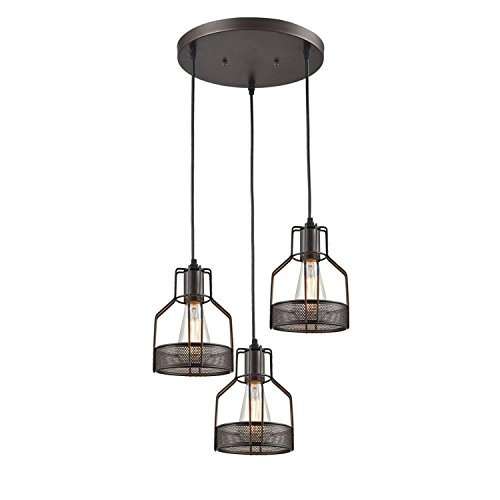 Mstar Rustic Lights Multi Industrial Chandelier, Hanging Lights Black 3 Light Pendant with Metal Cage Shade, Adjustable Cord Farmhouse Lighting, Matte Black Finish Pendant Lighting for Kitchen Island