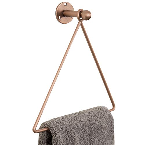 MyGift Modern Wall-Mounted Copper-Tone Metal Triangle Bathroom & Kitchen Hand Towel Ring