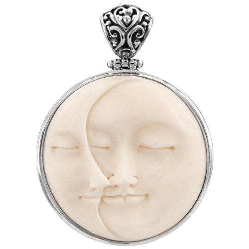 Carved Sun Crescent Moon Moonface Duo Goddess Bison Bone 925 Sterling Silver Pendant, 1 (Bone Goddess Pendant)
