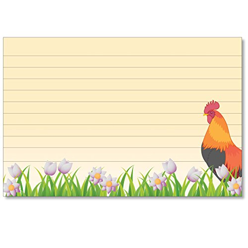 Cookbook People Recipe Cards 4x6 Rooster Tulipster Index Cards or 40ea Wedding, Bridal and More (Recipe Box Rooster)