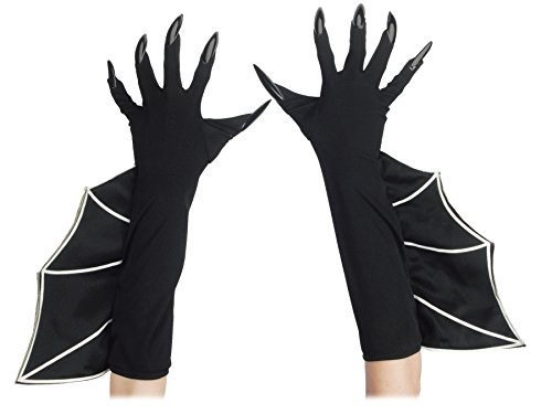 Loftus International Loftus Long Flaired Bat Witch Costume Gloves w Attached Nails, Black, One-Size Novelty Item Bat Witch