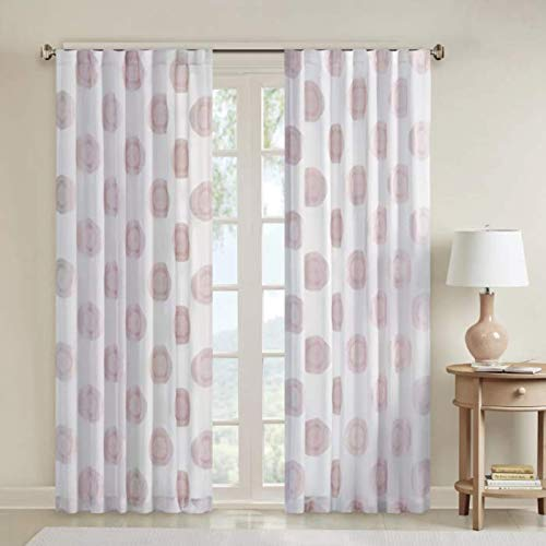 Pink Sheer Curtains for Bedroom, Yakima Medallion Rod Pocket Sheer Curtain for Living Room Family Room, Polyester Casual Back Tab Curtain sheers, 50X84, 1-Panel Pack