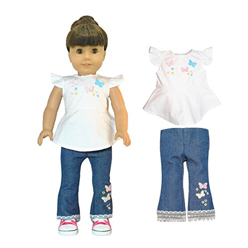 Pink Butterfly Closet Jeans and Shirt with Butterfly Embroidery Cloth Set for 18-Inch Dolls, 2-Piece - Doll Box Costume