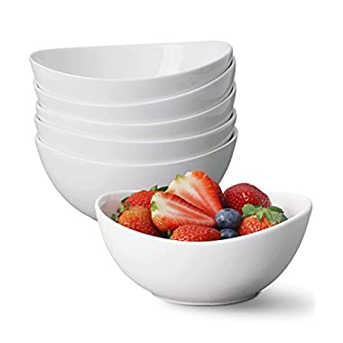 Porcelain Bowl Set of 6 - 18 OZ Cute Ceramic Food Serving Bowls - for Cereal, Salad, Cream and Desserts, White - by Sweese