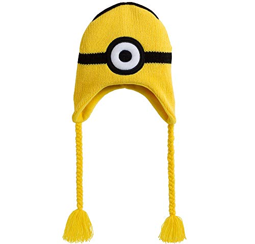 Accessory Innovations Despicable Me One-Eyed Minion Peruvian Hat, with 9-Inch Braids, Measures 9 Inches by 7 1/2 -