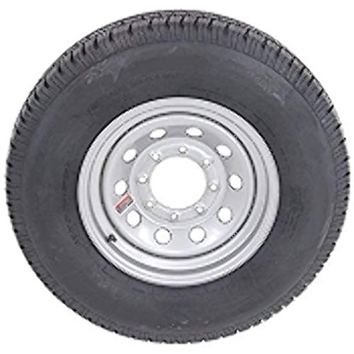 "16"" Silver Mod Trailer Wheel 8 Lug with Radial ST235/80R16 Tire Mounted (8x6.5) bolt circle primary"