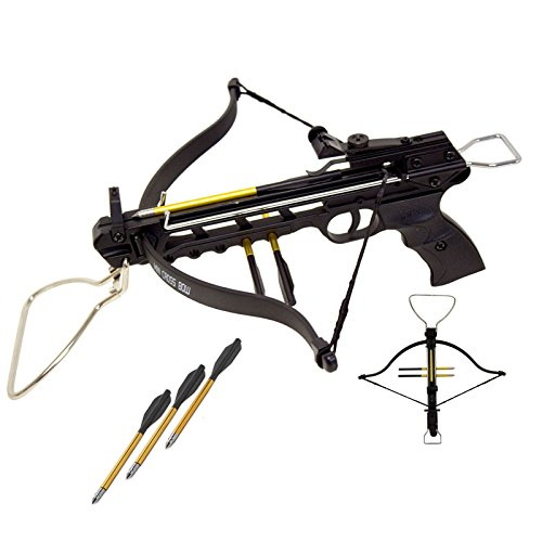 Rogue 80 lbs Aluminum Pistol Crossbow with Build-in Arrow Holder (Black w/ 27 Arrows)