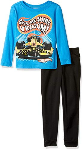 (Hot Wheels Boys' Toddler Long Sleeve Tee and Jogger Set, Blue/Multi 2T)