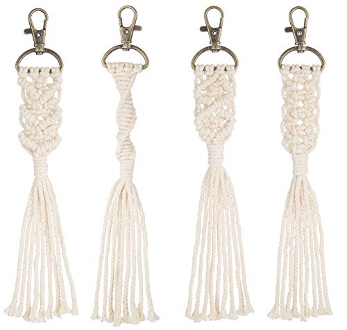 Pantaknot Boho Macrame Keychain Natural Cotton Decorative Bag Charm Key Holder Antique Gold Lobster Claw Clasp, Pack of 4