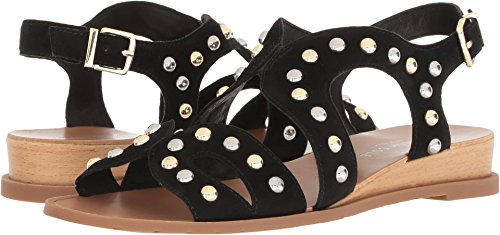 Cole Sandals Kenneth Suede (Kenneth Cole New York Women's Jules Stud Low Wedge Backstrap Flat Sandal, Black, 8.5 M US)