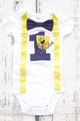Baby Boy First birthday Cake Smash Outfit- Spongebob, square pants, (Embroidered) Parent Shirts are available]()