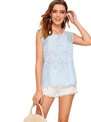 - DIDK Women's Sleeveless Eyelet Embroidery Scallop Hem Lace Panel Boho Top Blouse Blue Small