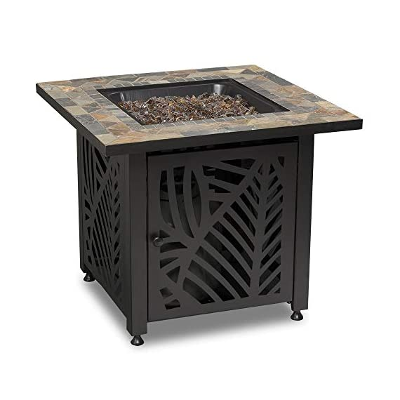 Endless Summer GAD15258SP LP Gas Outdoor Fire Table, Multi Color - Endless Summer Square LP Gas Fire Table with Stamped Steel Leaf Design Base 50,000 BTU Stainless Steel Burner with Integrated Ignition Slate Tile Mantel - patio, outdoor-decor, fire-pits-outdoor-fireplaces - 41yAdLjSzqL. SS570  -
