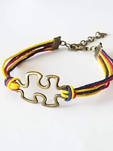 Autism Awareness Bracelet Mulit Colored Hemp String 6-8 Inch Bronze Finish Puzzle Piece Charm.