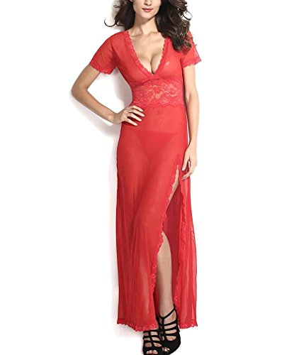 M-3XL Deep V-neck See-through Slit Mesh Babydoll Tunic Intimate Long Gown (XXL, red)