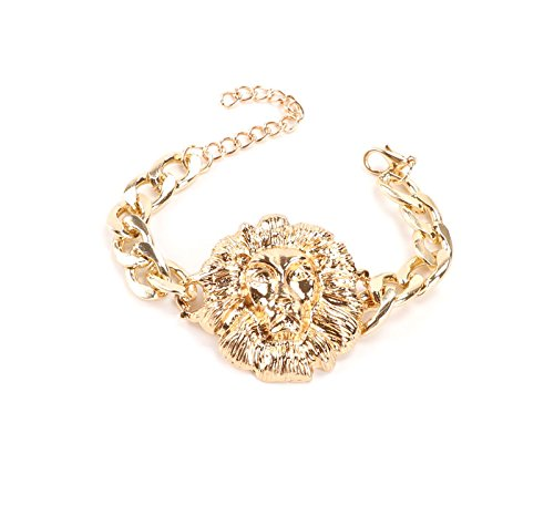 Gold/Silver Plated Lion Head Chain Statement Necklace Bracelet Earring Ring Jewelry Set (Gold) by WANG (Image #5)