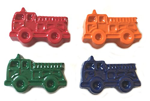 MinifigFans 48 Fire Truck Crayons - Birthday Party Favors - 12 Sets of 4 Crayons - Made in the USA