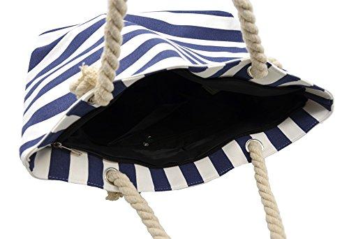 Avec My Grand Marine Shop Atb06 Corde Anses Rayures Imprimé Torsadée Bleu Oh De Plage Et Sac Cabas 8tdFqRtxpw
