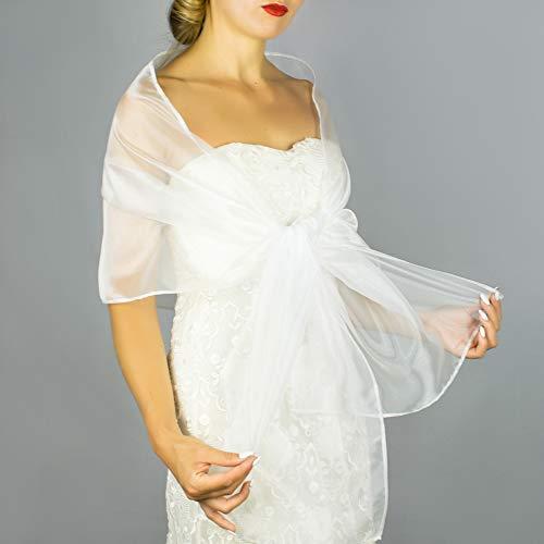 Chal organza color blanco novia boda para vestido de novia: Amazon.es: Handmade