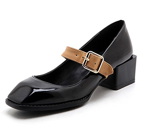 Easemax Womens Stylish Patent Stitching Buckle Straps Square Toe Low Top Mid Chunky Heel Pumps Shoes Black OQHwVjeO