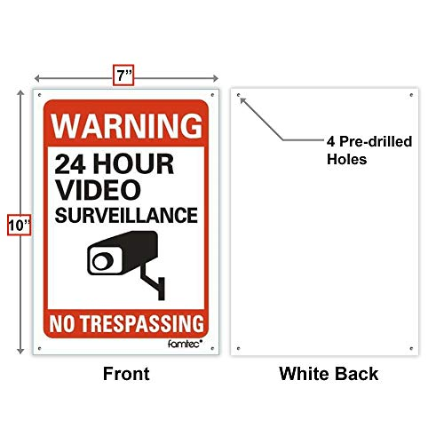 Video Surveillance Sign Outdoor | No Trespassing Glow-in-The-Dark Large Warning Sign | 12''x12'' Aluminum | Indoor Outdoor | Home Business CCTV Security Camera | Waterproof UV Protected | Red | 4 Pack by Famtec (Image #2)
