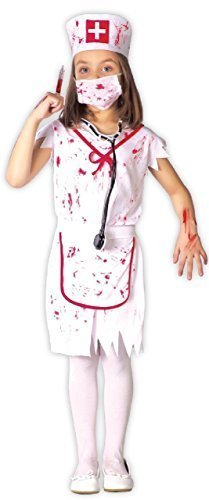 Horror Nurse Costume (Girls Killer Zombie Bloody Nurse Emergency Services Uniform Halloween Horror Scary Fancy Dress Costume Outfit 3-9 Yrs (10-12)
