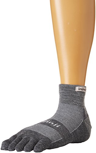 Injinji 2.0 Outdoor Midweight Mini Crew Nuwwol Socks, Charcoal/Black, Large