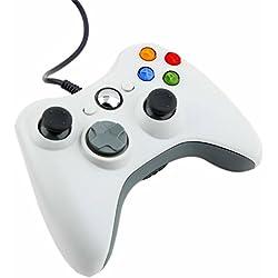 Kingpeony Xbox 360 Wired Bluetooth Controller USB Gamepad Game Controller Joystick Joypad for Xbox 360 Windows 7 - White