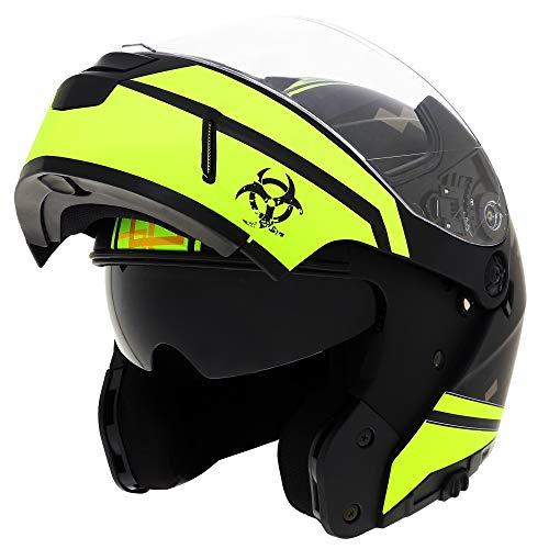 Traiangle Motorcycle Helmets Modular Dual Visor Flip Up (X-Large, Matte Black/Yellow)