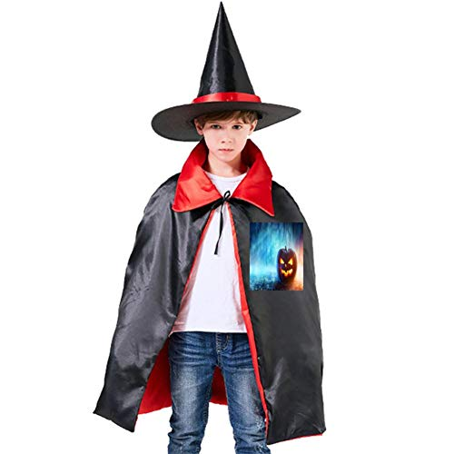 Ghosts, Smiley Faces, Pumpkins Halloween Shawl and Witch Hat for Children Kids Red -