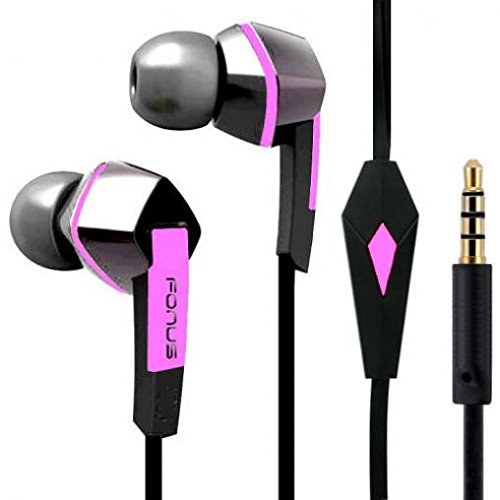 LG K20 Plus Compatible Headset Hands-free Earphones Pink Earbuds Mic Dual Headphones Tangle Free Flat Wired 3.5mm