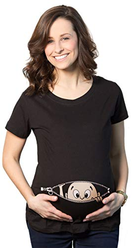Maternity Baby Peeking T Shirt Funny Pregnancy Tee for Expecting Mothers (Black) - S
