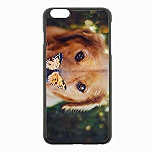 iPhone 6 Plus Black Hardshell Case 5.5inch - dogs muzzle butterfly look Desin Images Protector Back Cover