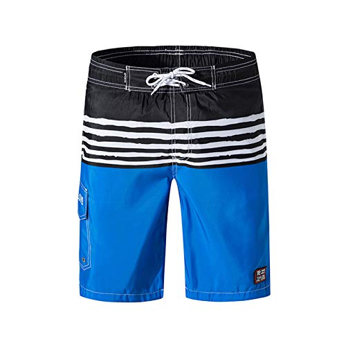 Men's Swim Trunks Quick Dry Board Shorts with Mesh Lining Cargo Pockets Striped Bathing Shorts 9 Inches Inseams Shorts