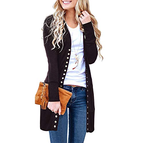 - SATINATO Sweaters for Women,Cardigan Sweaters for Women, Long Sleeve Soft Basic Knit Solid Color Cardigan Sweater (Brown, M)