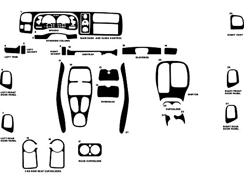 Rdash Dash Kit Decal Trim for Dodge Durango 1998-2000 - Diamond Plate (Diamond Plate Dash)
