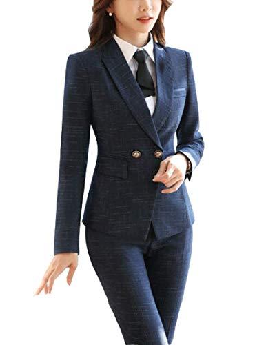 MFrannie Women Plaid Two Button Long Sleeve Blazer and Skirt Suit Set Blue XXS