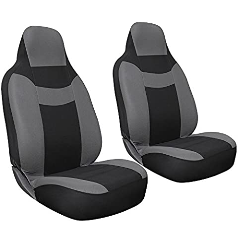 Oxgord 2-Piece Integrated Flat Cloth Bucket Universal Seat Covers, Gray and Black (2012 Honda Fit Seat Covers)