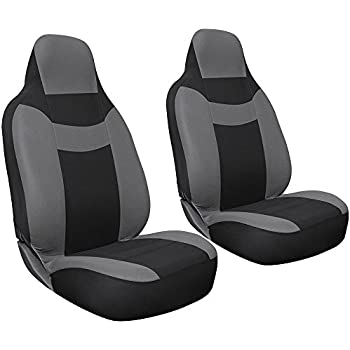Oxgord 2-Piece Integrated Flat Cloth Bucket Universal Seat Covers, Gray and Black