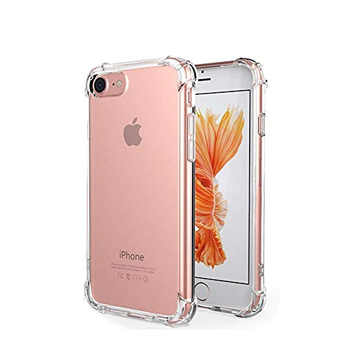 (Crystal Clear TPU Back Cover Shockproof Anti-Scratch Corner Bumper Protective Case for Apple iPhone 7/8 with 3 Separate Cutouts for Cameras )