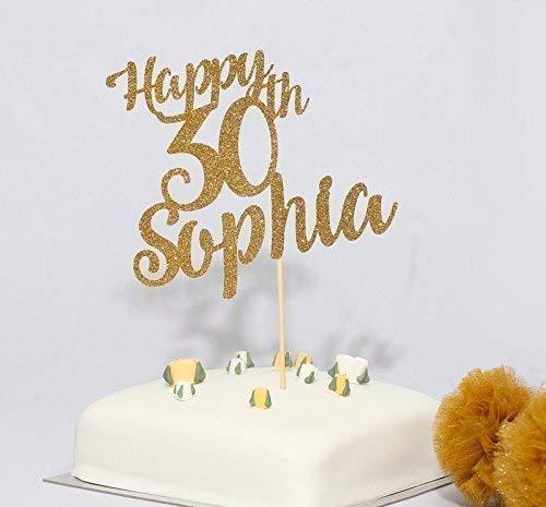 Cake Topper Happy Birthday Gold Glitter  Card FREE UK P/&P