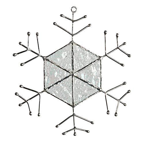 J Devlin ORN 190 Iridescent Glass Snowflake Christmas Ornament or Window Sun Catcher Winter Holiday Decor ()
