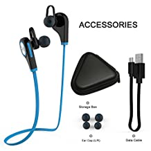 Sport Headphones,TechCode 2016 New Wireless Bluetooth V4.1 Earbuds in- Ear Headset Running Gym Exercise Sweatproof Earphone for All Android Phones and All iphones(Q9-Blue)