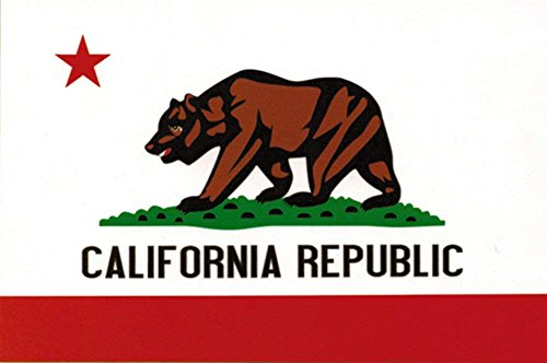 Papapatch California State Flag CA Bear Window Laptop Wall D