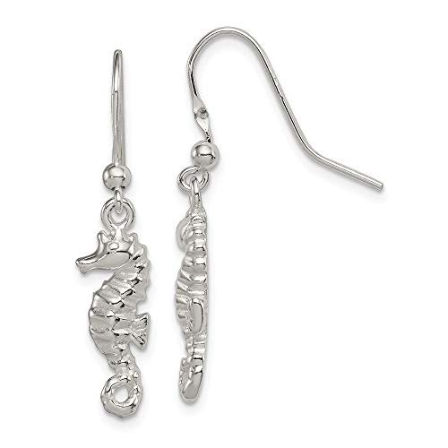 Q Gold Sterling Silver Polished and Textured Seahorse Dangle Earrings
