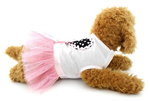 SELMAI Small Pet Girl Clothes Tutu Dress Princess Dots Heart Tiered Chihuahua Summer Clothes Doggie T Shirts Puppy Cat Apparel Outfits Pink XS