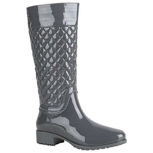 Stiefelparadies Gesteppte Damen Stiefel Lack Gummistiefel Metallic Boots Schnallen Animal Prints Schuhe Wasserdichte Regenschuhe Flandell Grau Schnallen